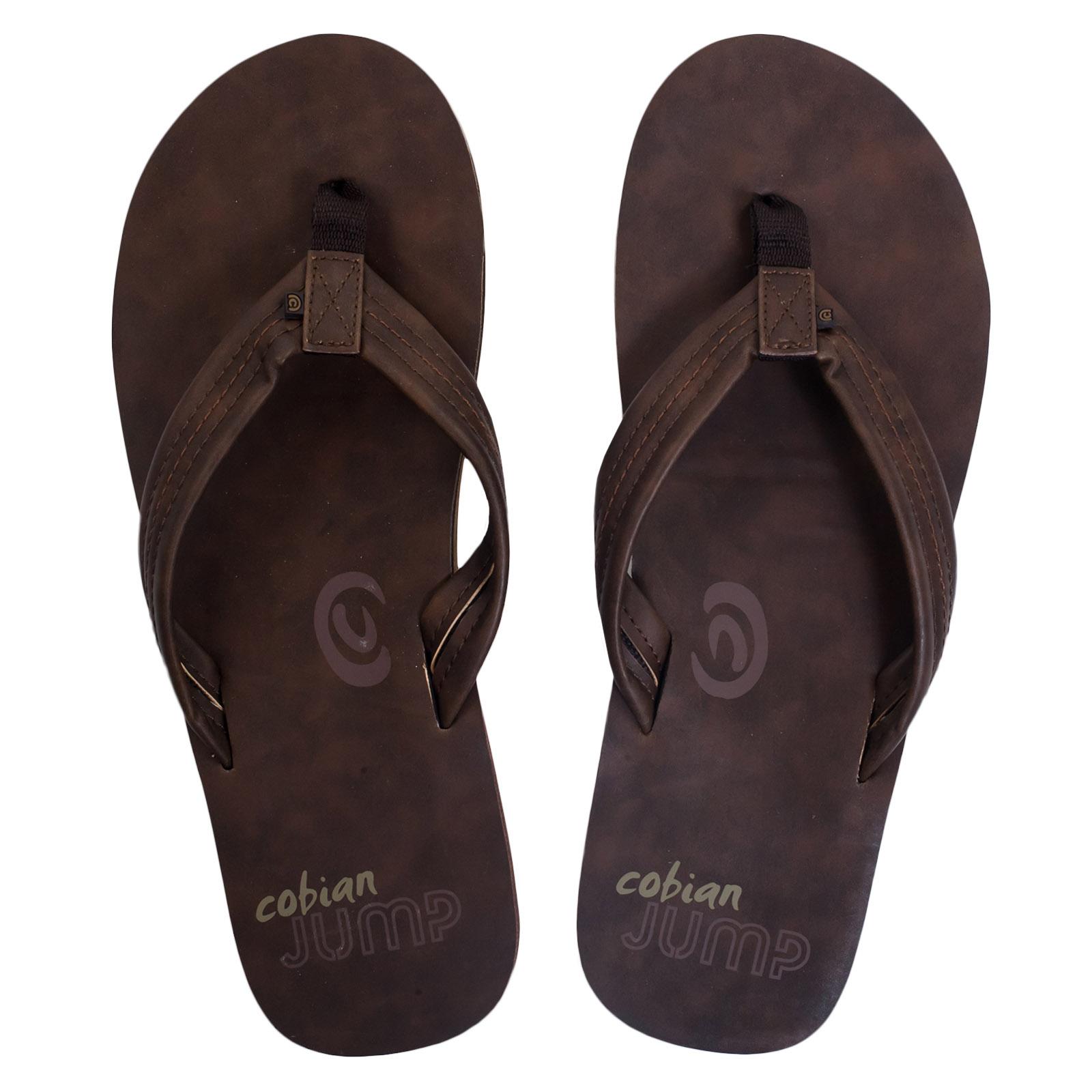 Мужские кожаные сланцы Cobian коричневого цвета