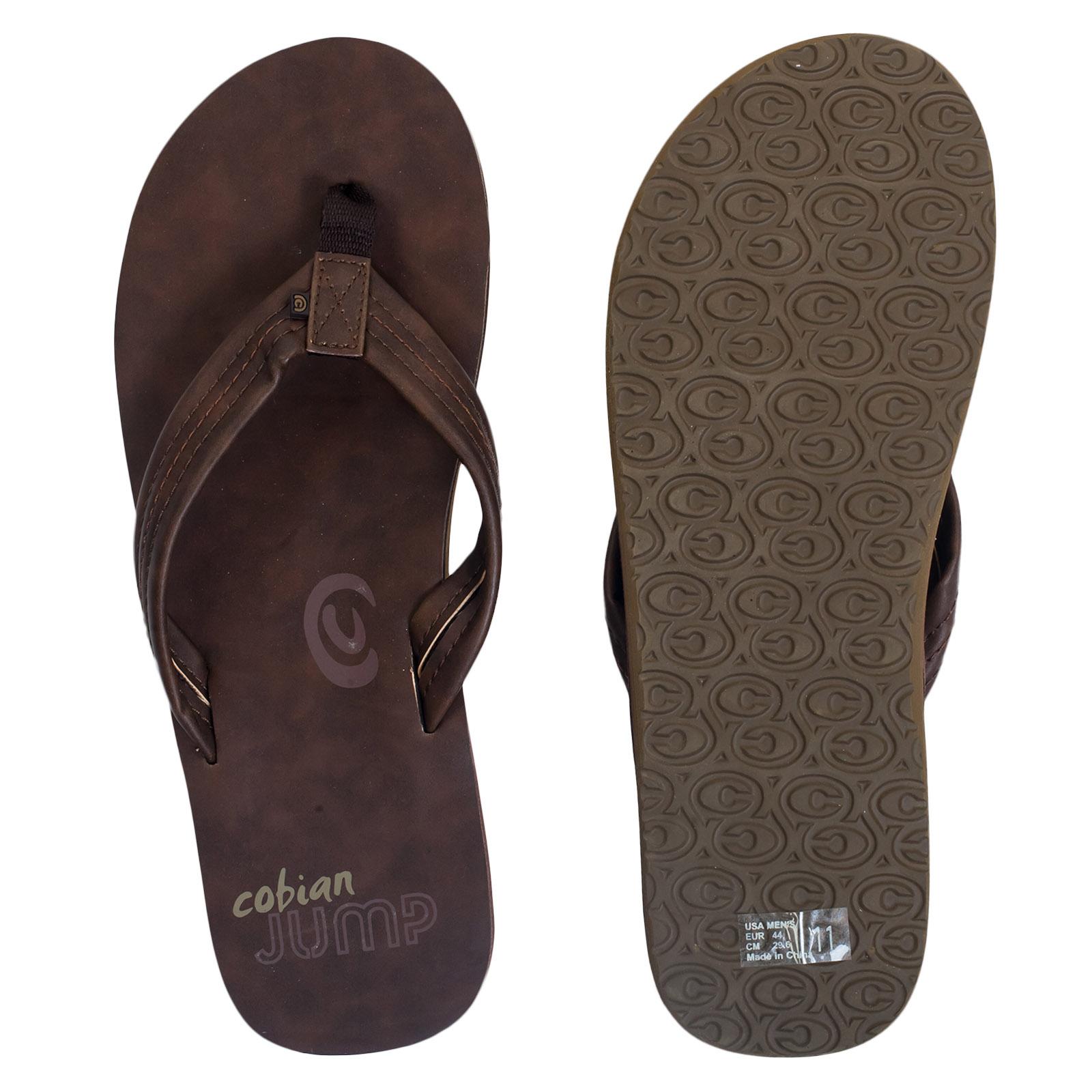 Купить мужские кожаные сланцы Cobian коричневого цвета онлайн выгодно