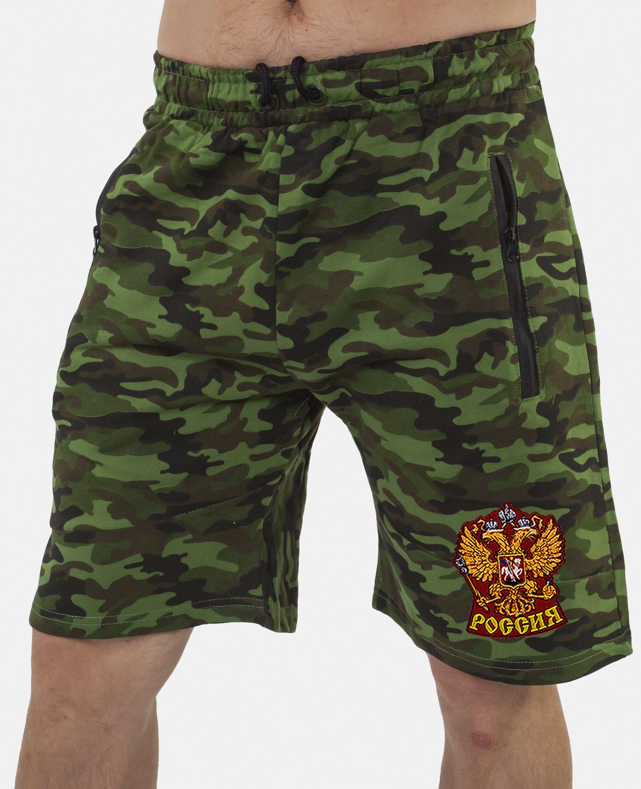 Купить мужские милитари шорты с нашивкой Россия с доставкой онлайн