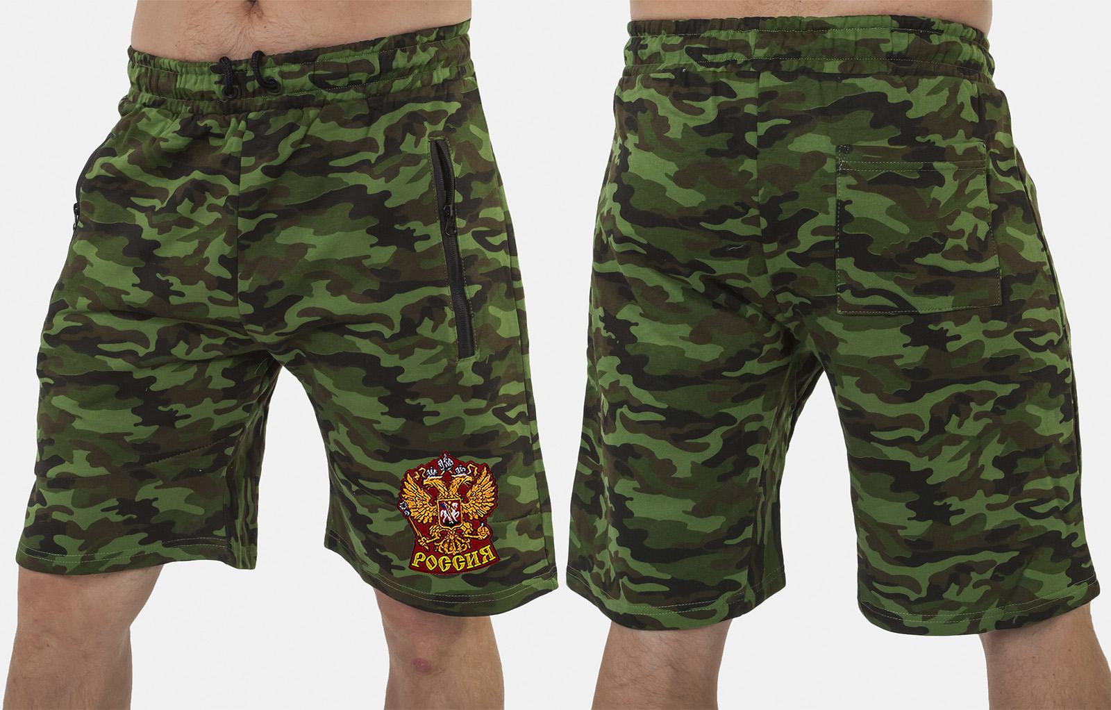 Мужские милитари шорты с нашивкой Россия - купить оптом