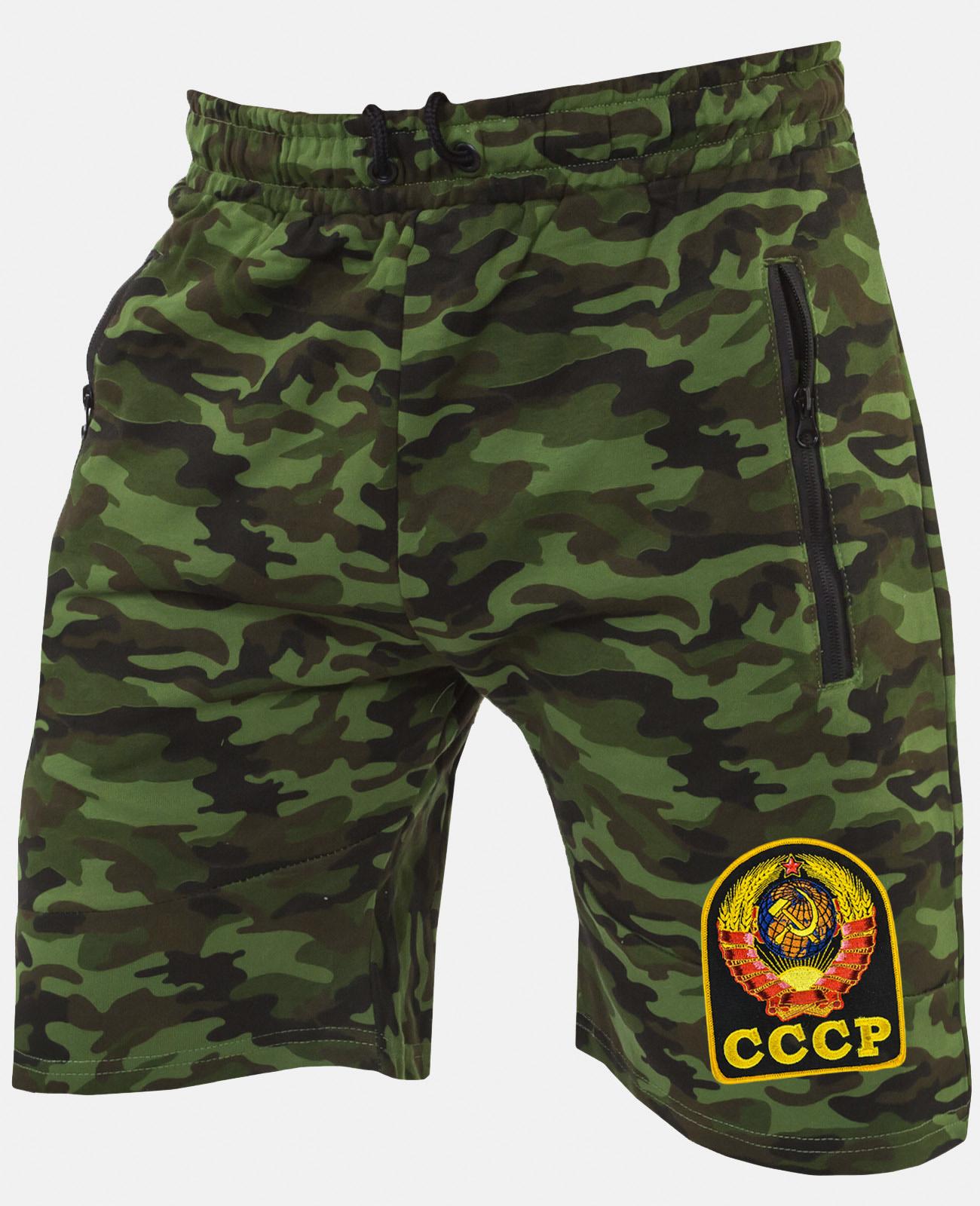 Мужские надежные шорты свободного кроя с нашивкой СССР