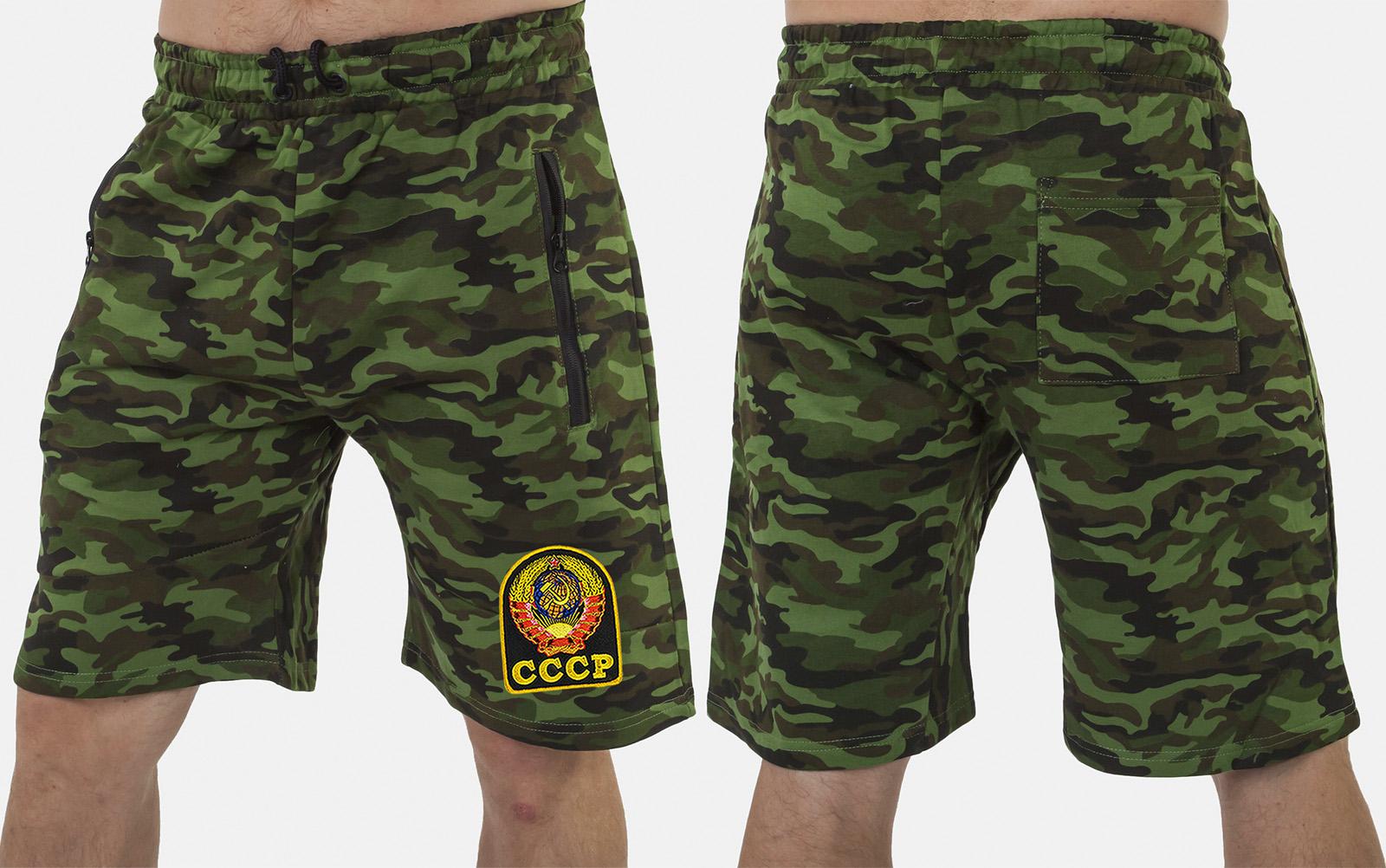 Мужские надежные шорты свободного кроя с нашивкой СССР - купить в подарок