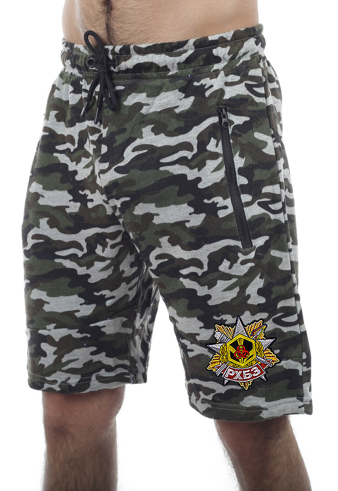 Купить мужские особенные хаки-шорты с нашивкой РХБЗ оптом выгодно