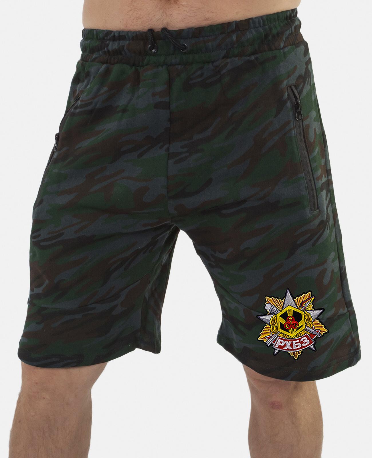 Купить мужские особенные шорты с карманами и нашивкой РХБЗ оптом выгодно