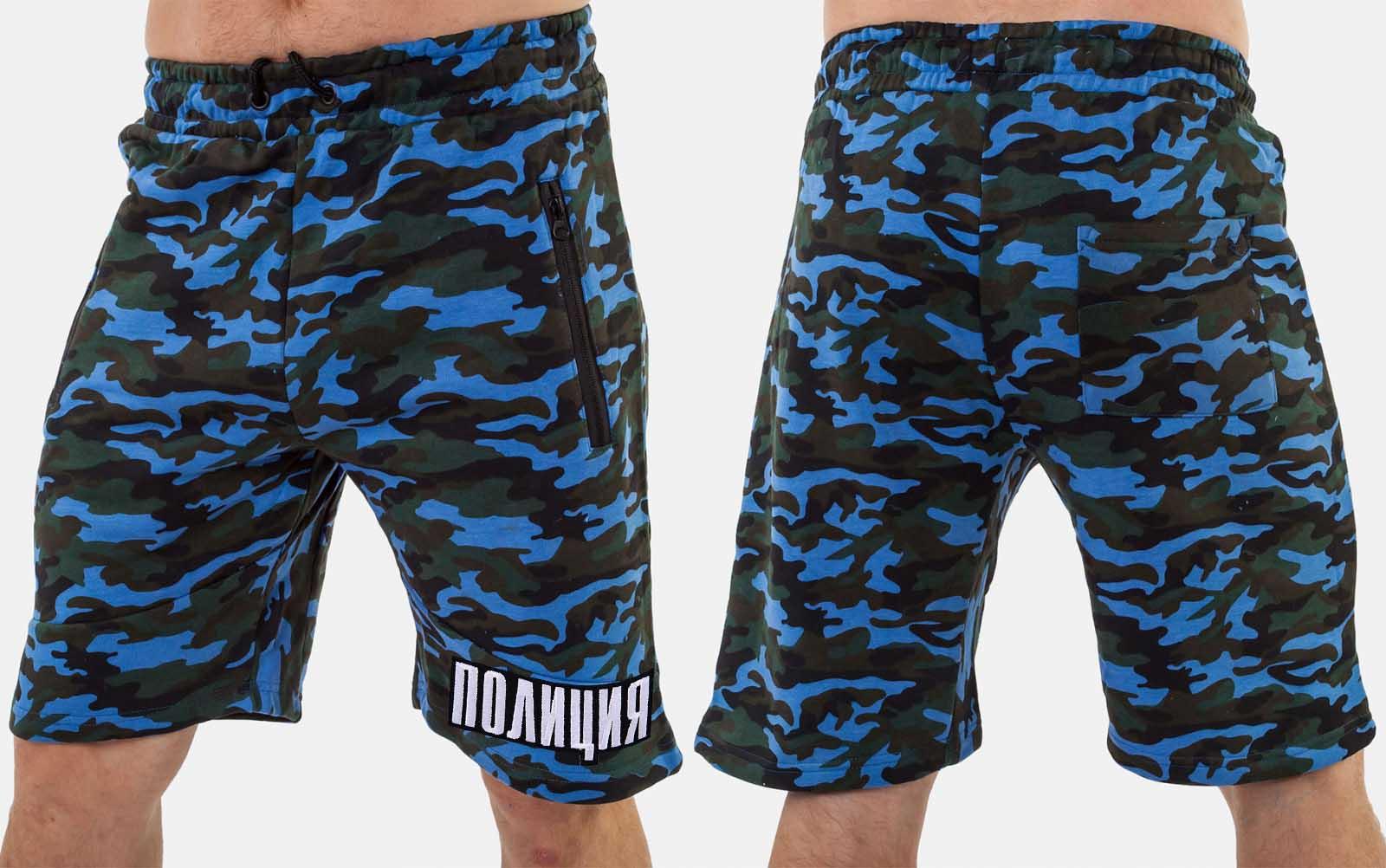 Мужские удобные шорты с нашивкой ПОЛИЦИЯ - заказать с доставкой