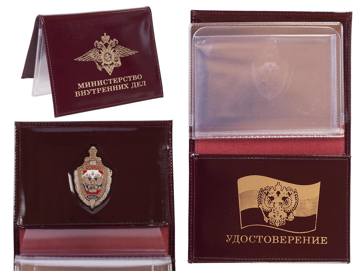 Мужское кожаное портмоне с жетоном МВД России