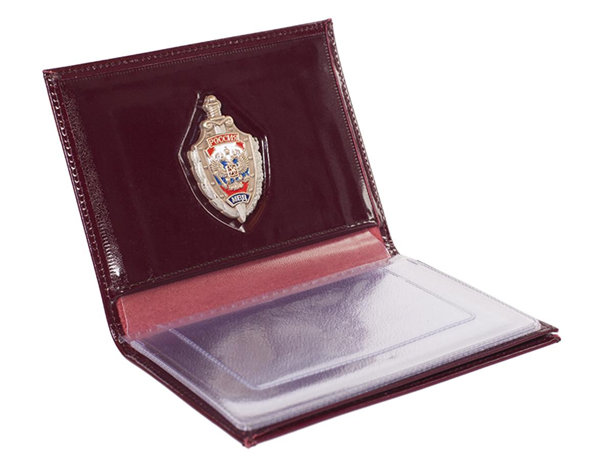 Купить мужское кожаное портмоне с жетоном МВД