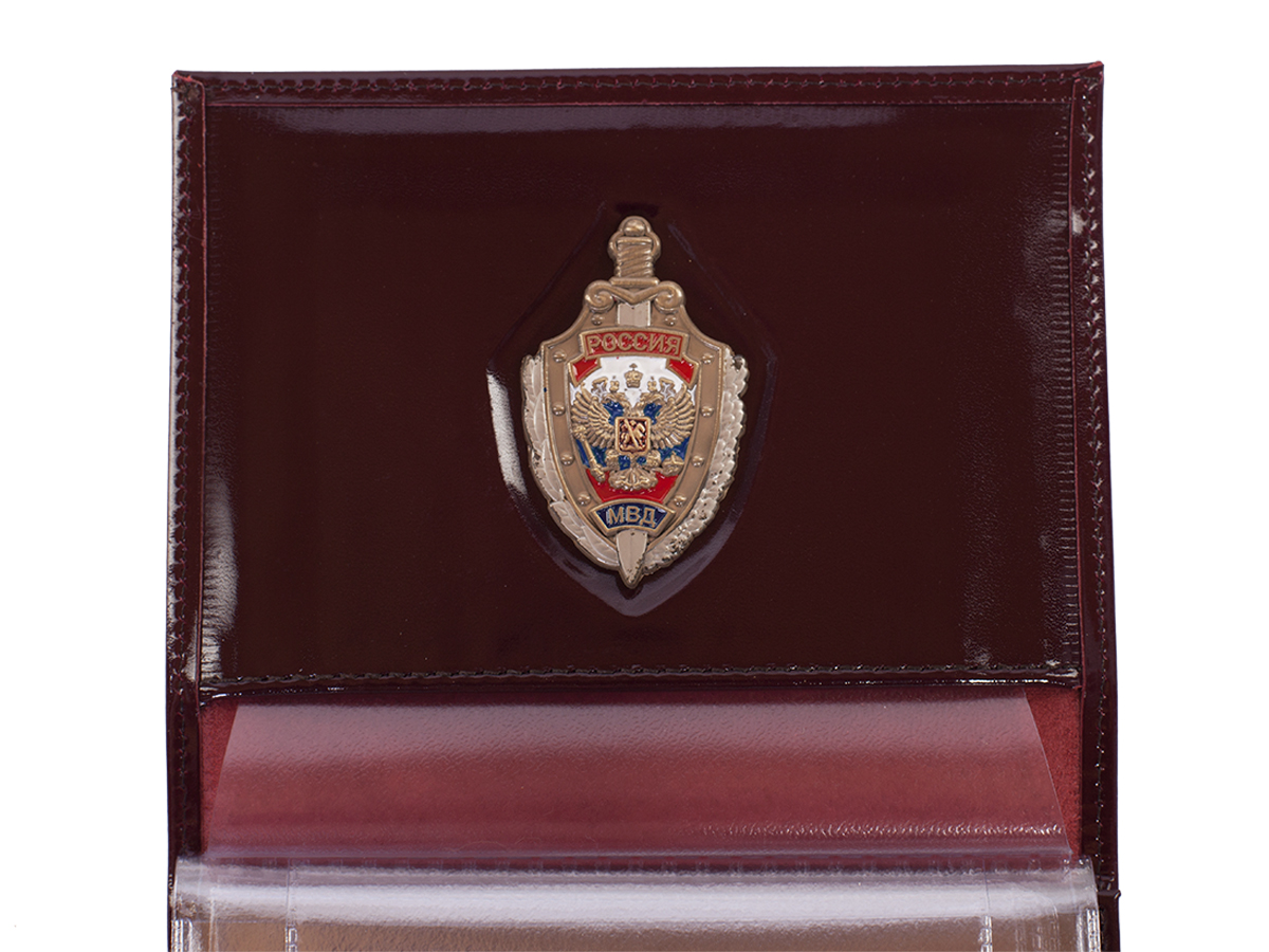 Мужское кожаное портмоне с жетоном МВД с доставкой