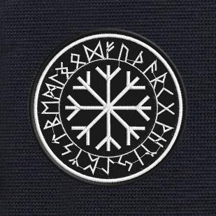Мужской черный рюкзак с нашивкой Рунический круг