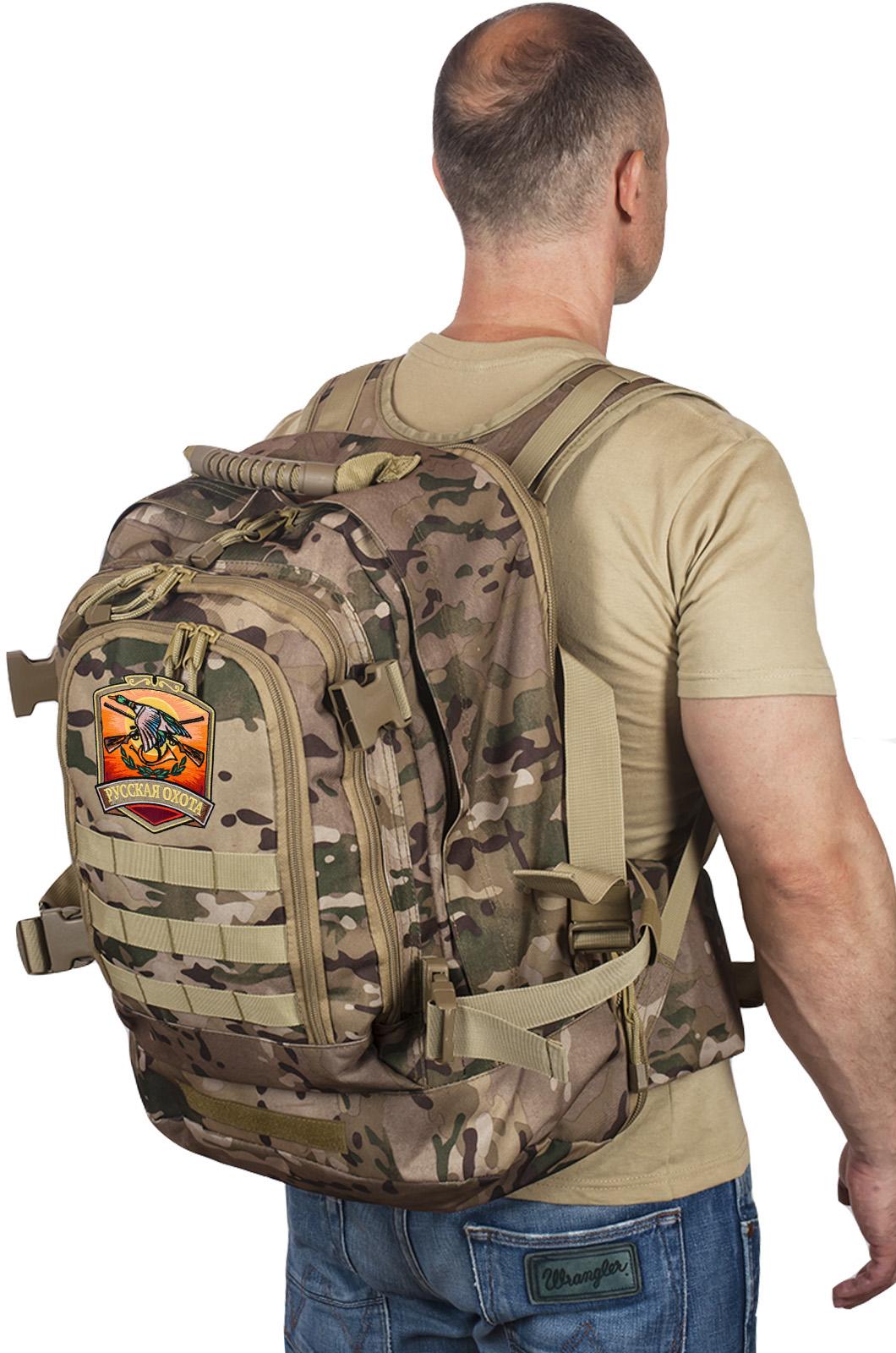 Мужской камуфляжный рюкзак с нашивкой Русская Охота - купить с доставкой