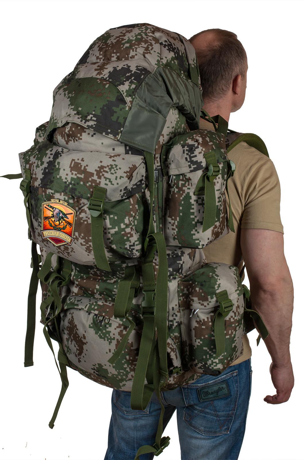Купить мужской вместительный рюкзак с нашивкой Русская Охота онлайн с доставкой
