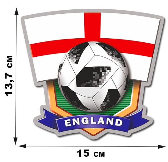 Автонаклейка фанатская сборной Англии (13,7x15 см)