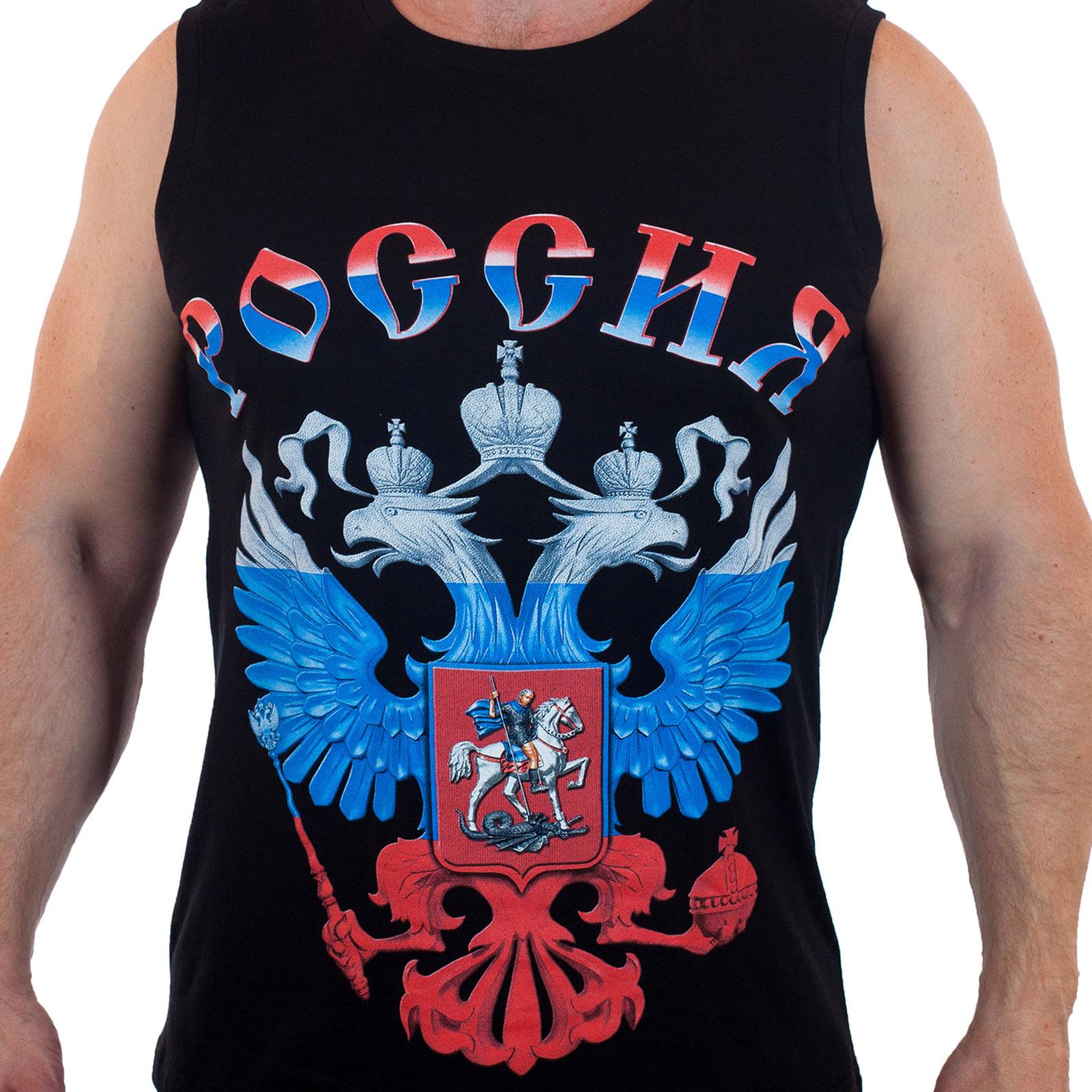 Майка с гербом России (размеры с 44 (XS) по 58 (4XL))