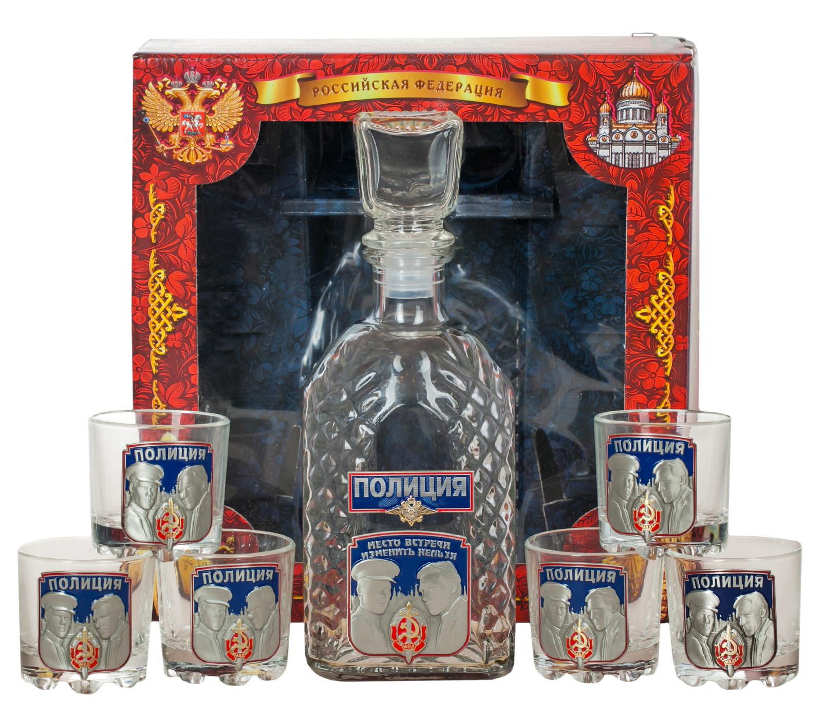 """Купить набор для крепких напитков """"Полиция"""" (графин +6 стопок)"""
