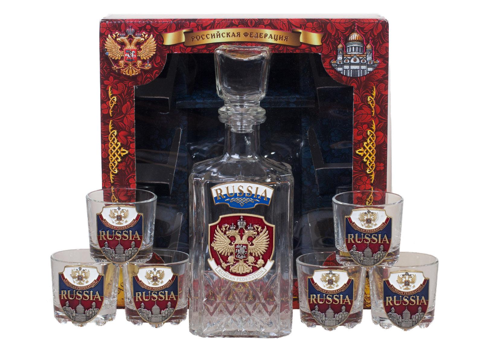 """Набор для крепких напитков """"RUSSIA"""" (графин +6 стопок)"""