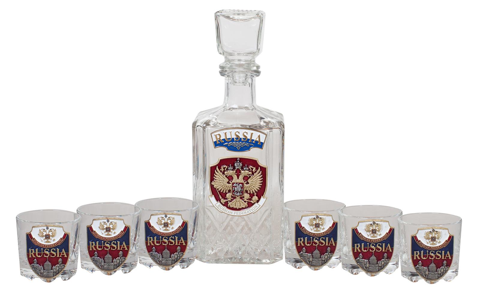 """Заказать набор для крепких напитков """"RUSSIA"""" (графин +6 стопок)"""