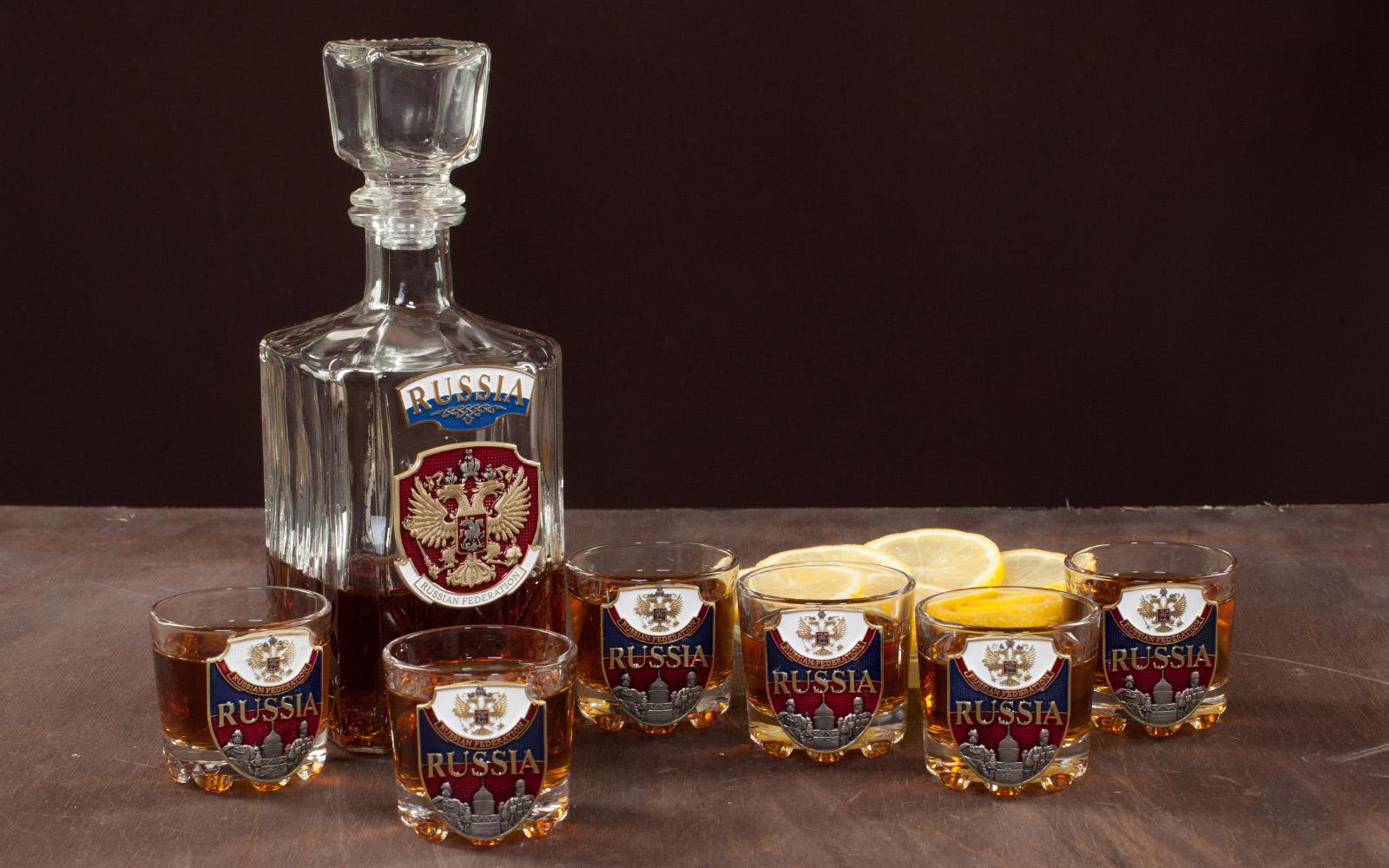 """Набор для крепких напитков """"RUSSIA"""" (графин +6 стопок) по лучшей цене"""