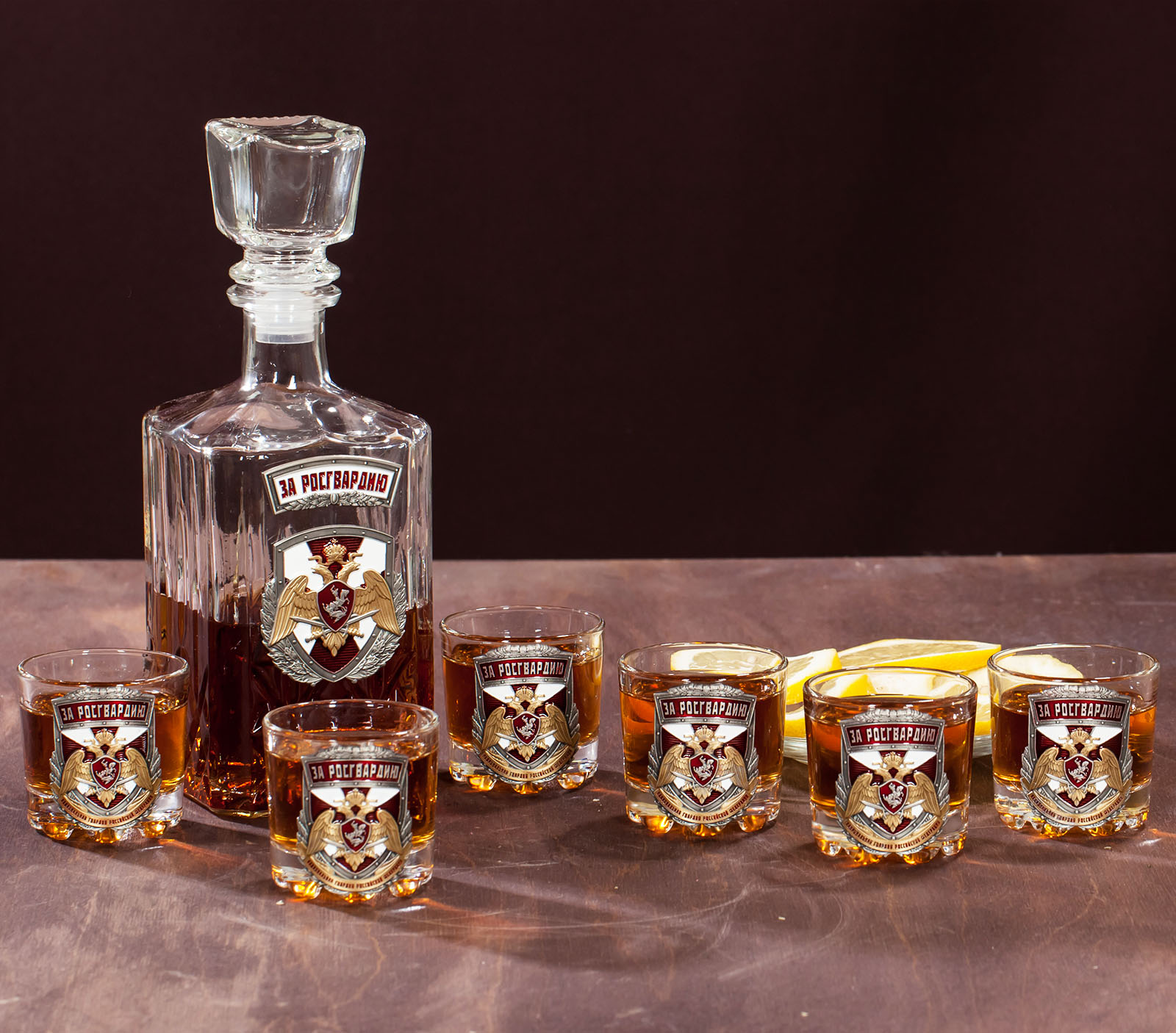 """Набор для крепких напитков """"За Росгвардию"""" (графин +6 стопок) в подарок"""