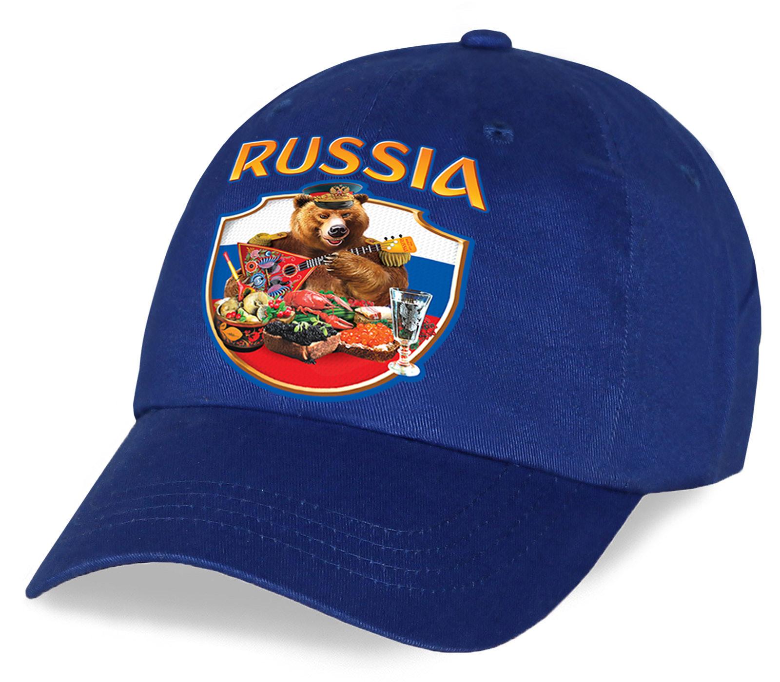 Для всех фанатов и патриотов хлопковая кепка с авторским принтом RUSSIA