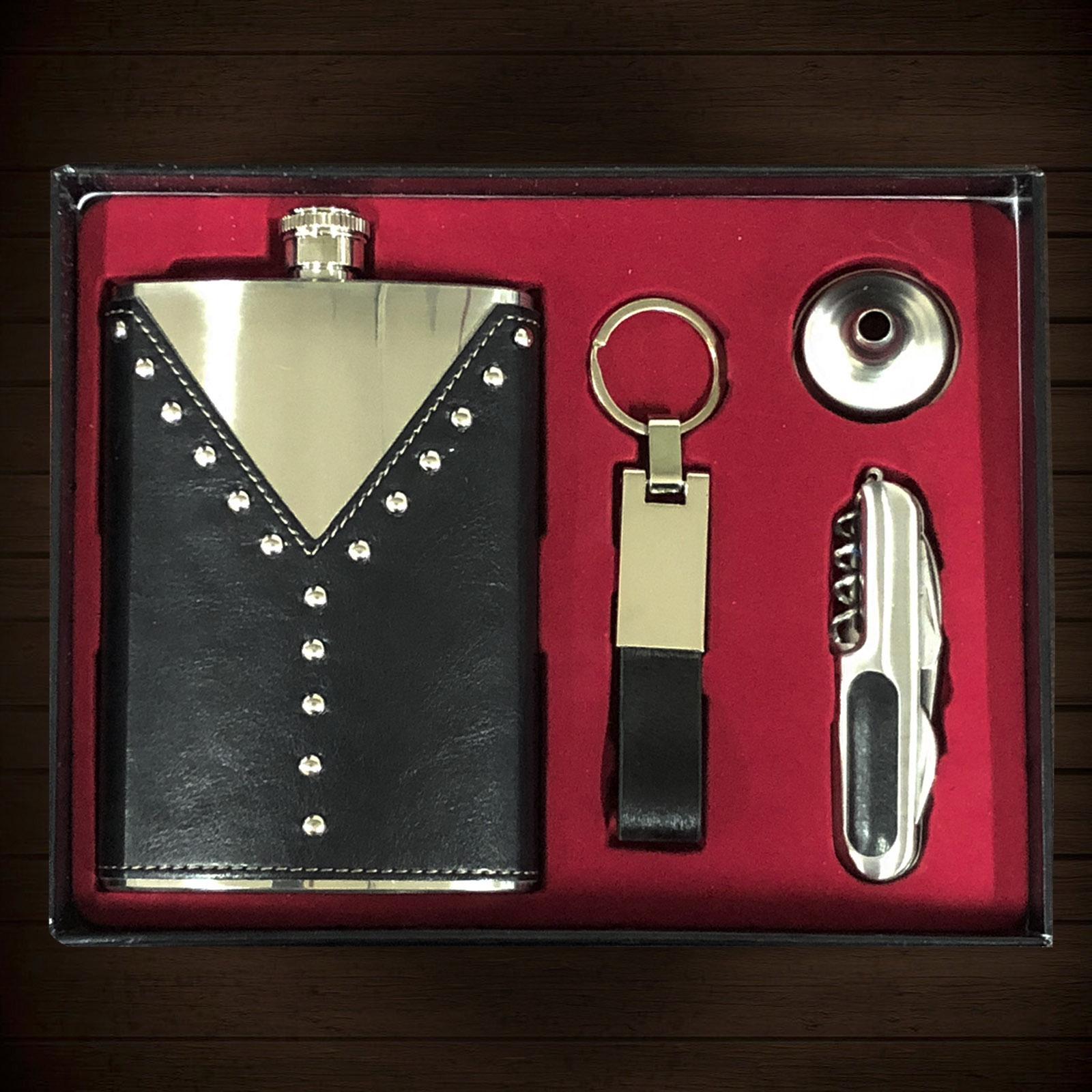 Подарочный набор: фляжка из нержавеющей стали, брелок, воронка, мультитул.