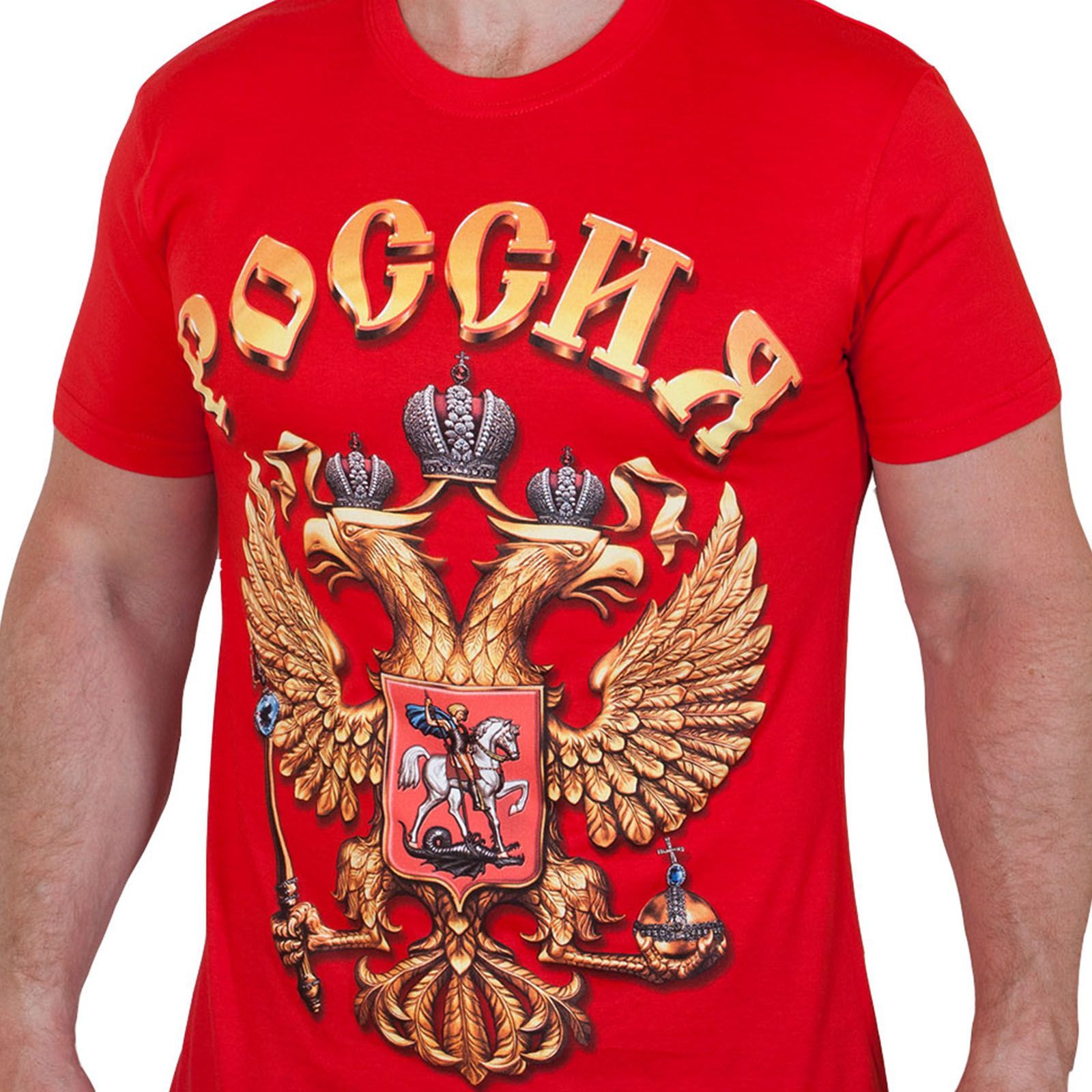Красная футболка с большим гербом Российской Федерации (размеры с 40 по 58)