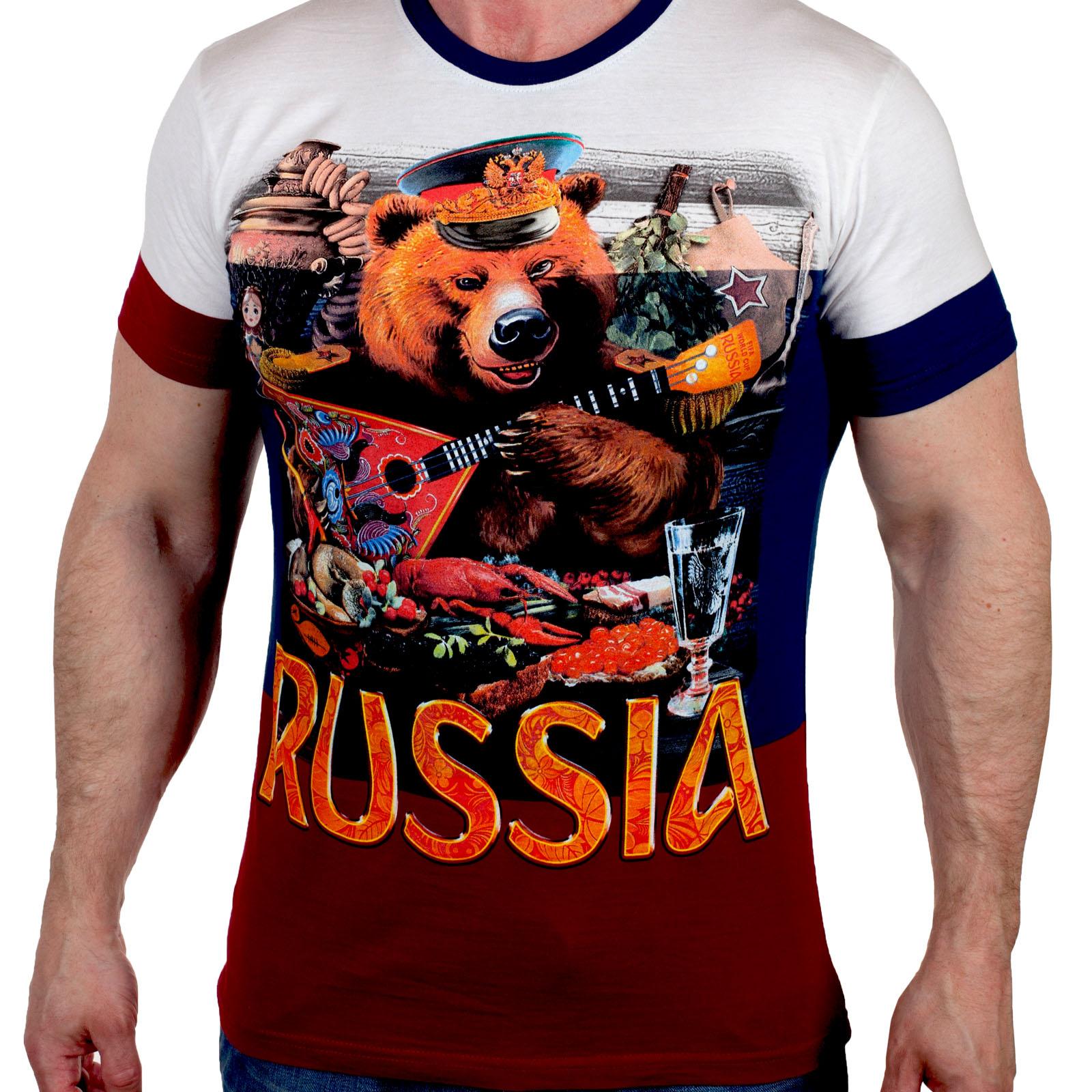 "Трендовая футболка триколор ""Russia""  (Размеры с 44 (XS) по 58 (4XL))"