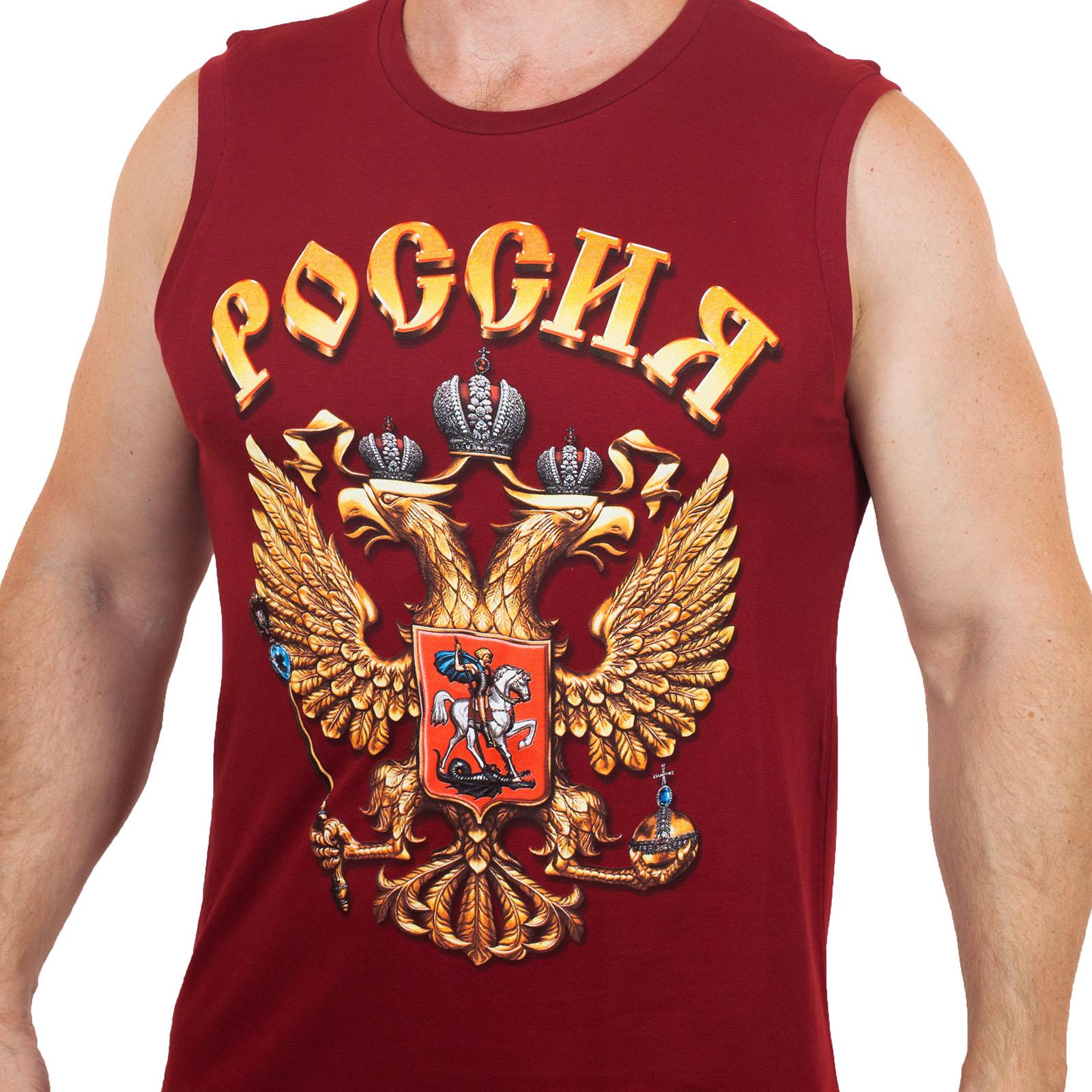 Недорогая патриотическая футболка без рукавов (размеры с 46 (XS) по 56 (2XL))