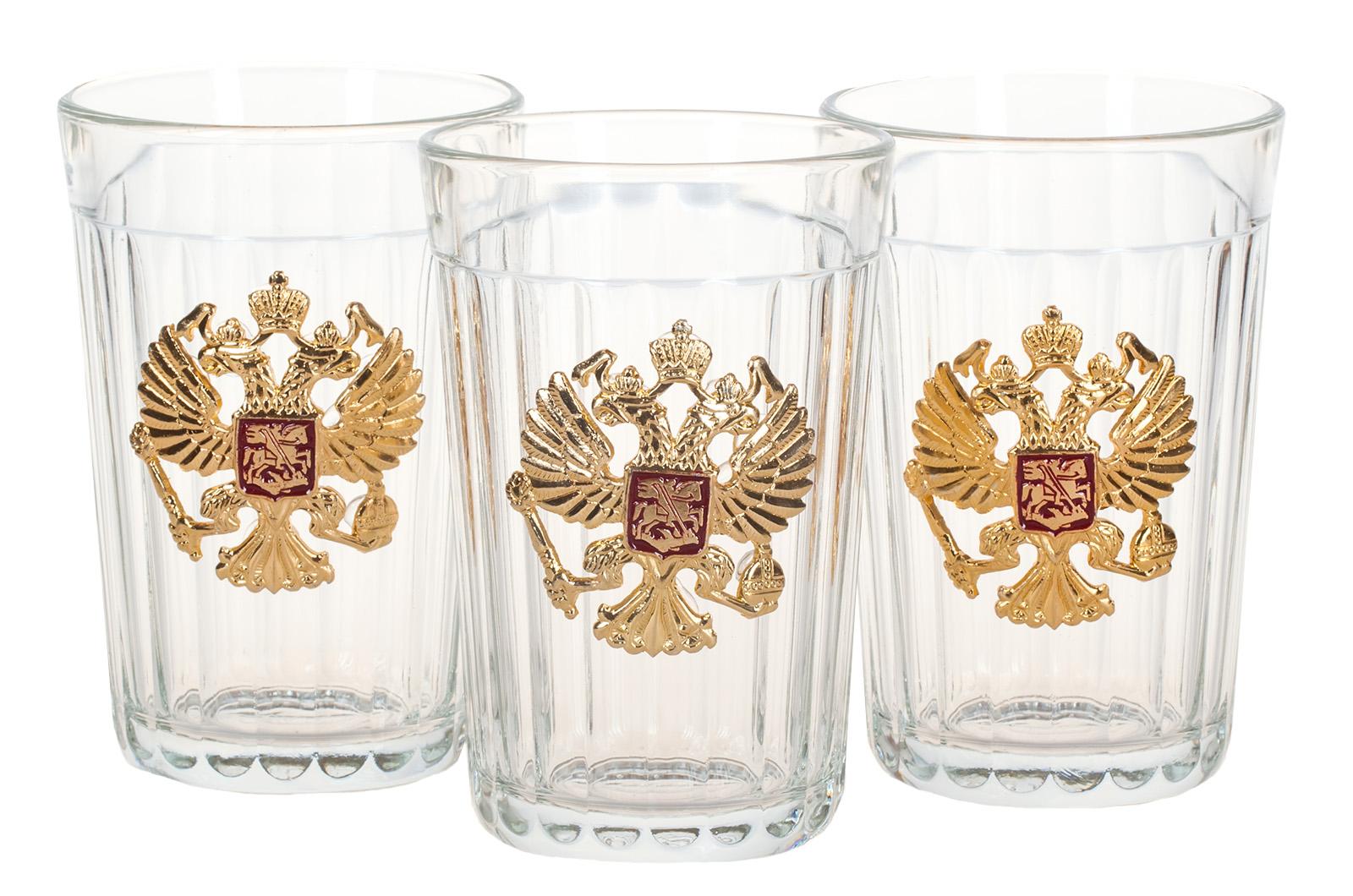 Набор гранёных стаканов с гербом России по лучшей цене