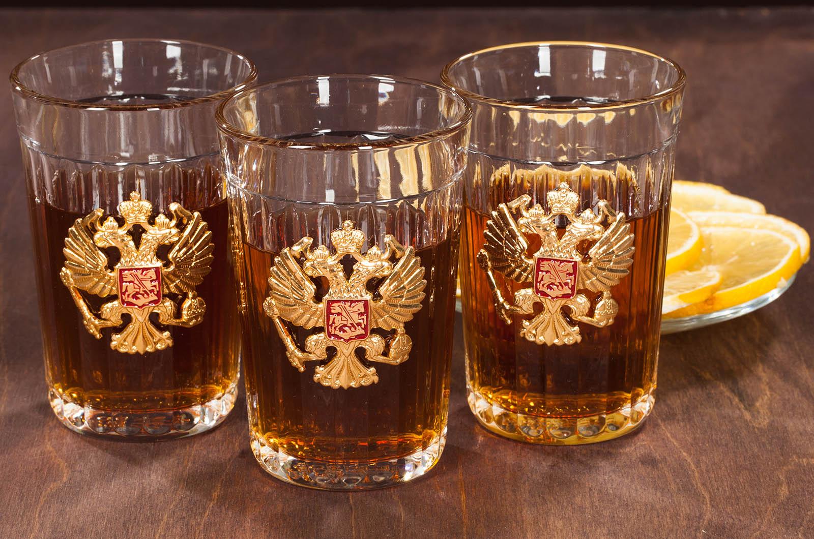 Набор гранёных стаканов с гербом России с доставкой
