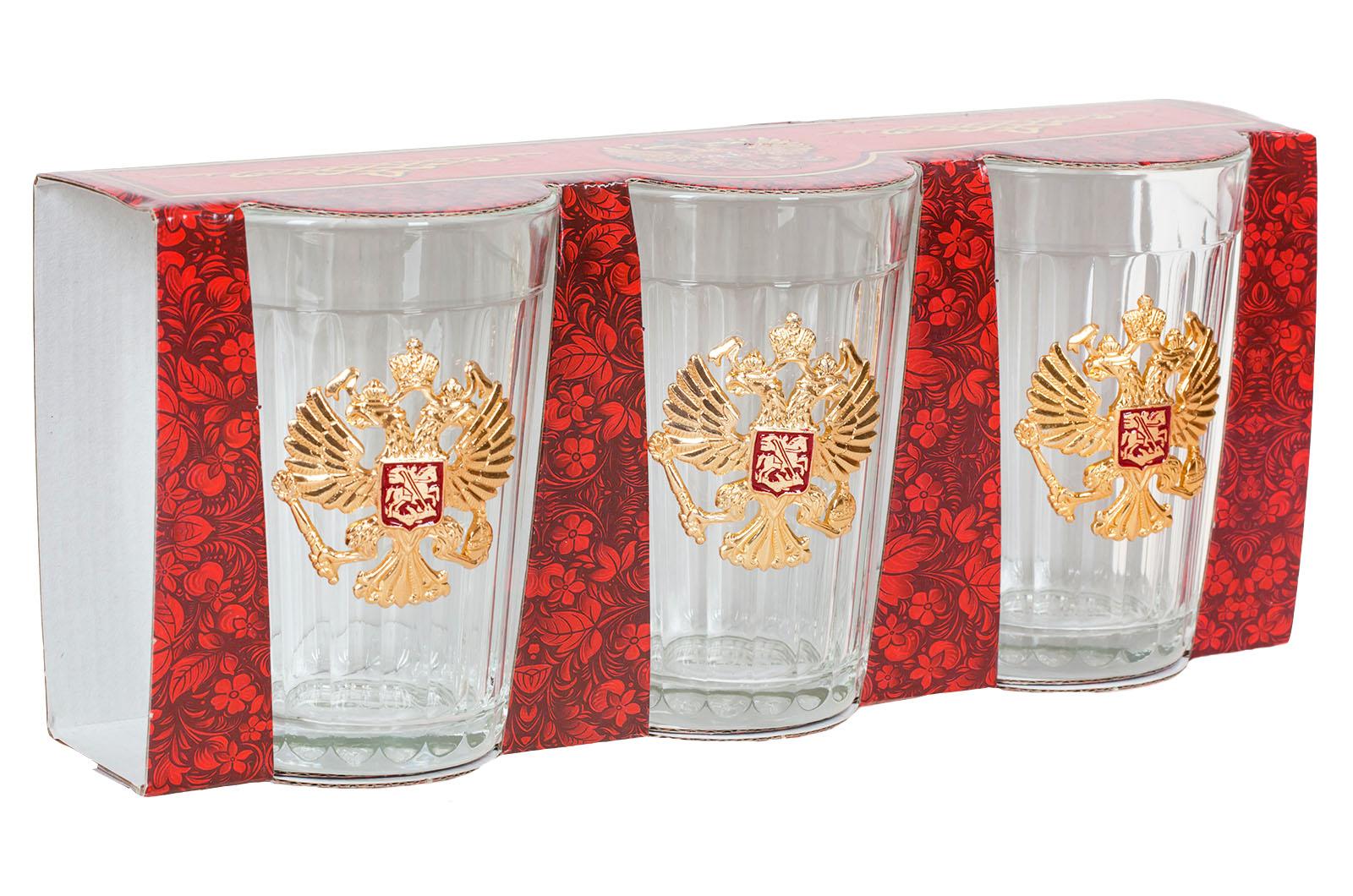 Набор гранёных стаканов с гербом России