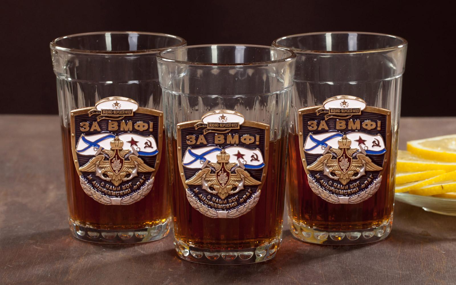 """Набор гранёных стаканов с накладками """"За ВМФ!"""" по выгодной цене"""