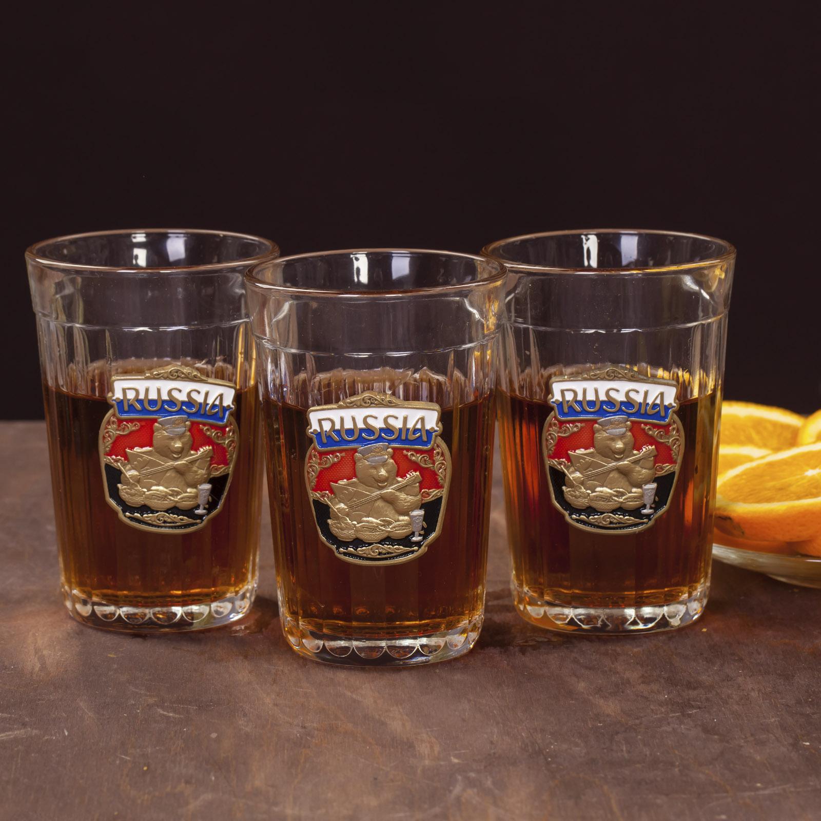 Набор гранёных стаканов с накладкой Russia