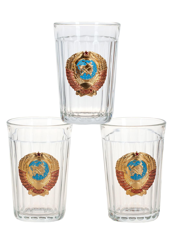 """Набор из 3 стаканов """"Герб СССР"""" с доставкой"""