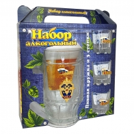 Подарочная пивная кружка со стопками МВД России