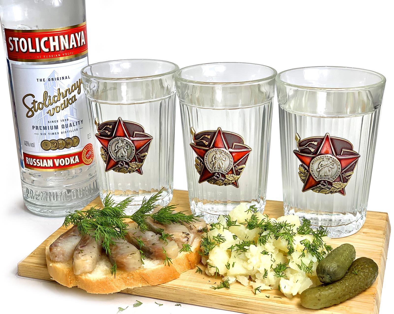 Заказать на подарок граненые стаканы 100 лет Красной Армии и Флота