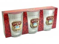 Набор из 3-х граненых стаканов СССР Слава народу-победителю
