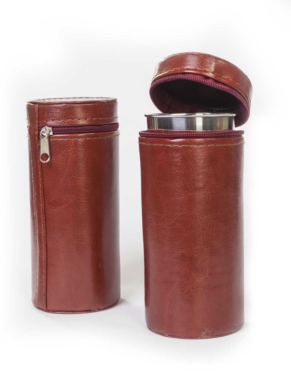Набор «За охоту»: 4 стопки + общий кожаный чехол.