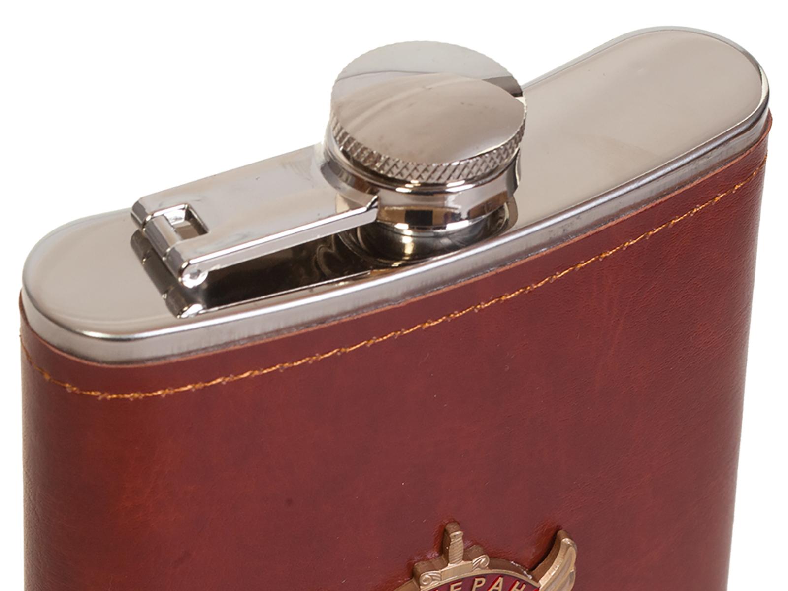 Надежная фляга в кожаной оплетке с накладкой Ветеран боевых действий - заказать в розницу