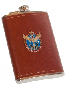 Надежная фляга в кожаной оплетке с накладкой Ветеран боевых действий - заказать в подарок