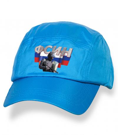 Надежная голубая бейсболка с термонаклейкой ФСИН