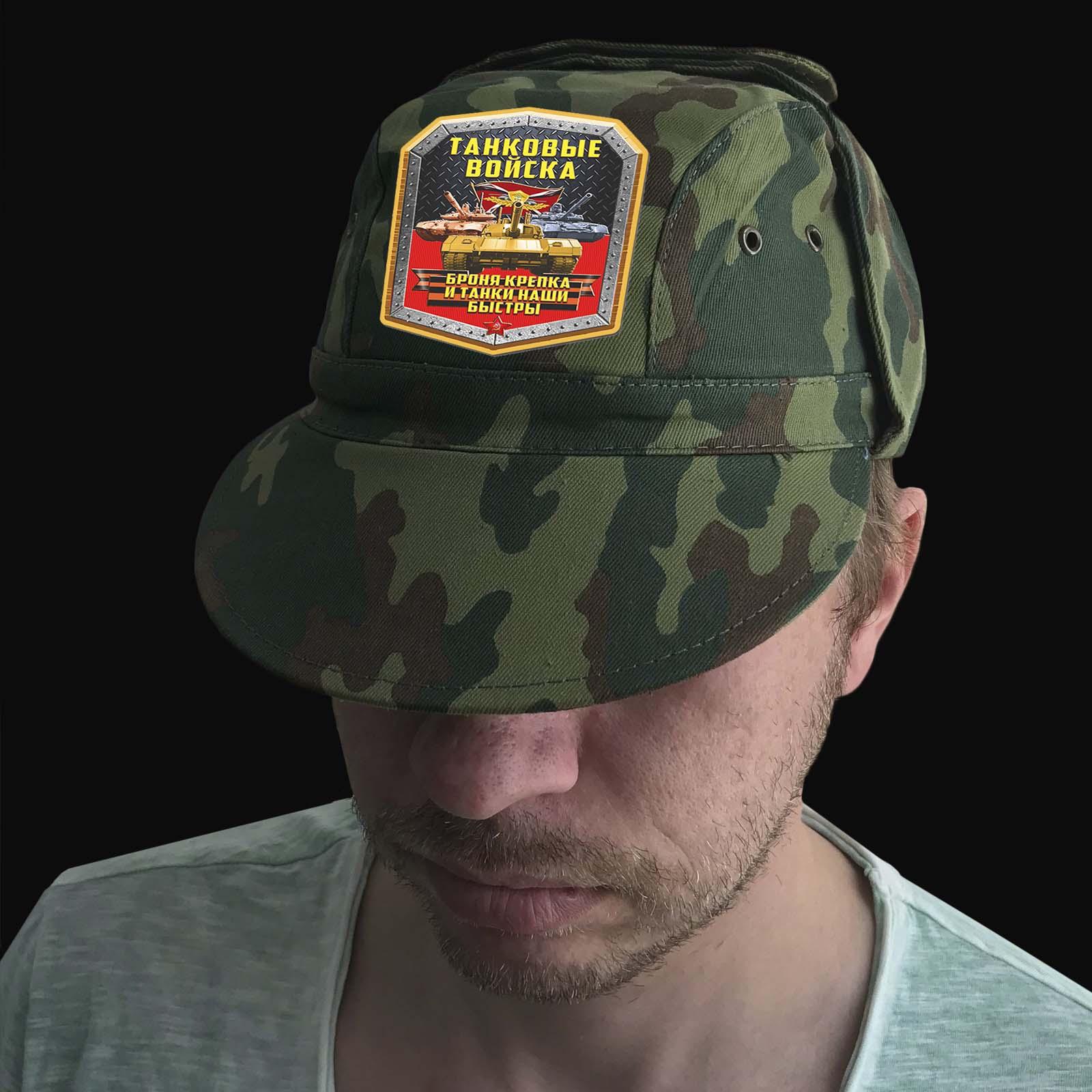 Надежная кепка-камуфляж с термотрансфером Танковые Войска