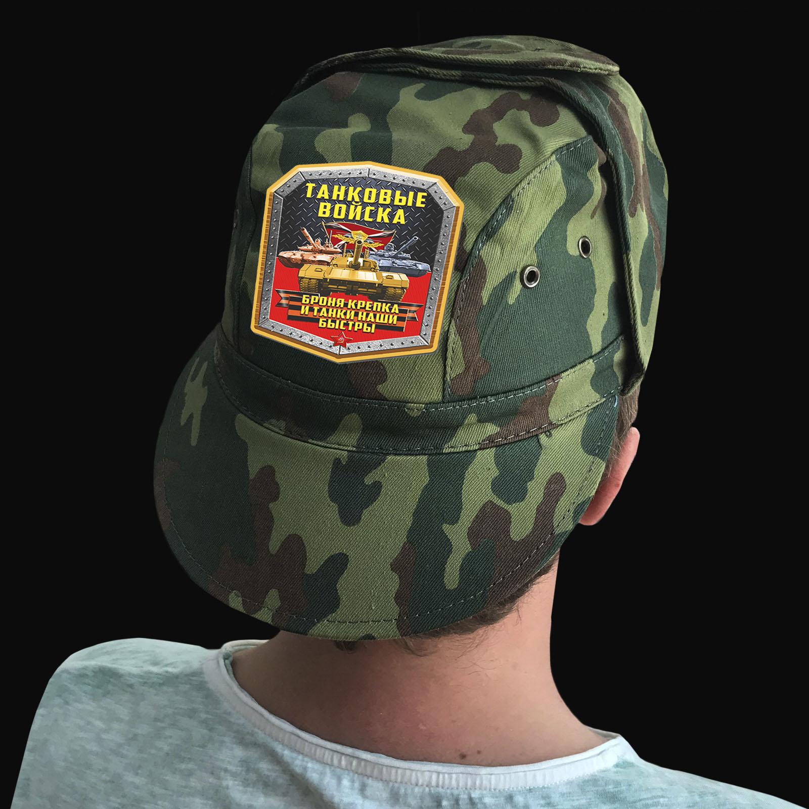 Купить надежную кепку-камуфляж с термотрансфером Танковые Войска выгодно оптом