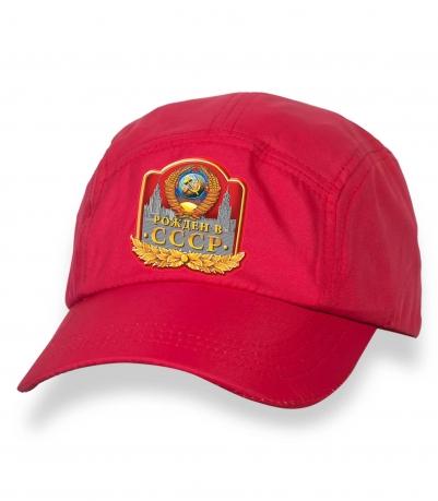 Надежная красная кепка с термотрансфером Рожден в СССР
