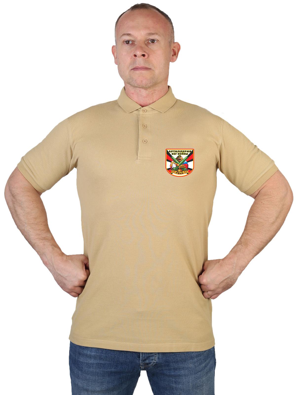 Купить надежную мужскую футболку-поло с термонаклейкой РВиА в подарок