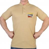 Надежная мужская футболка-поло с термотрансфером ПВО