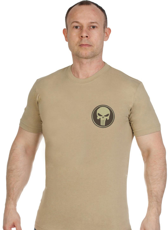 Купить надежную мужскую футболку с вышивкой полевой Каратель оптом или в розницу
