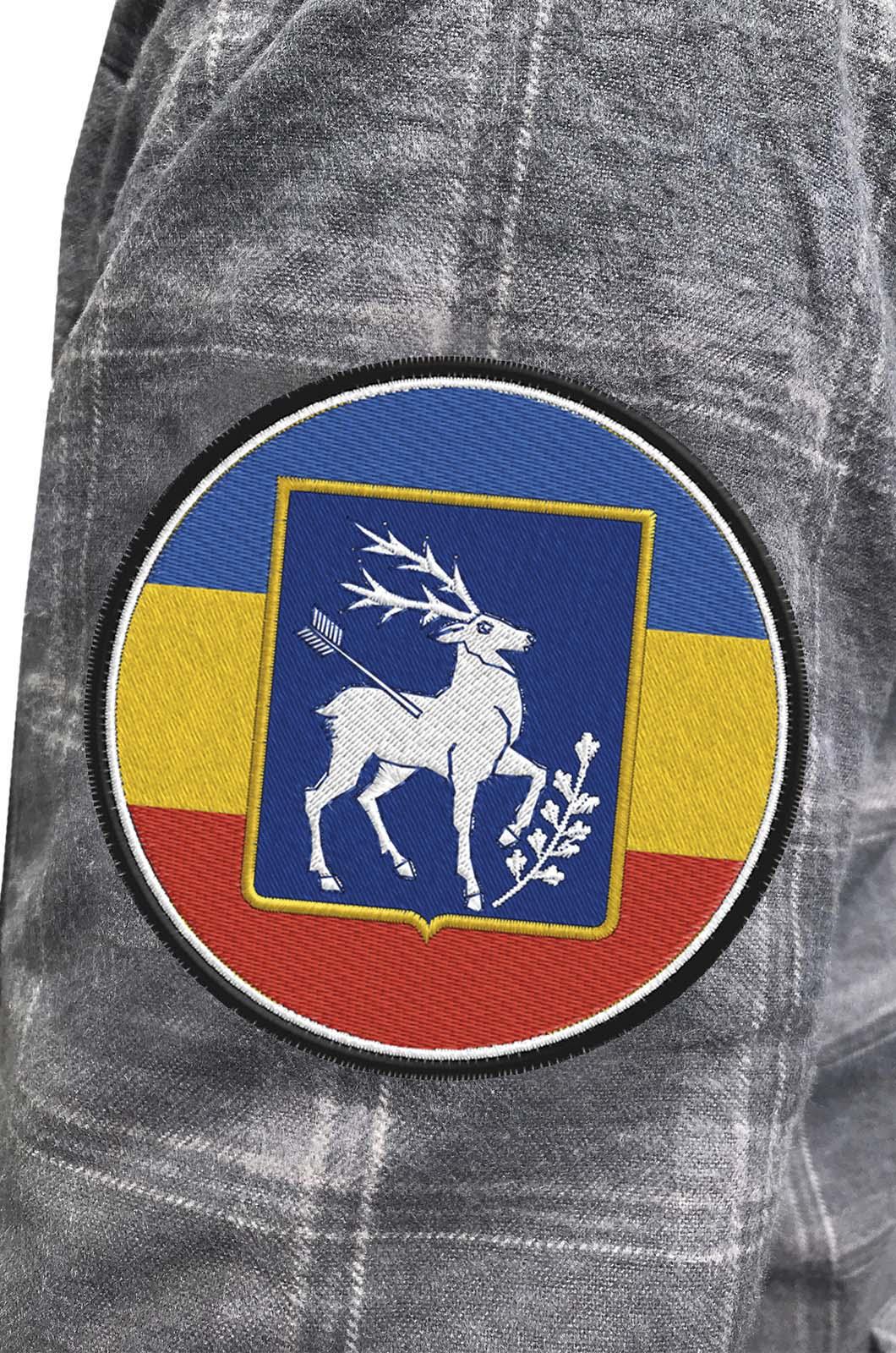 Надежная рубашка с вышитым казачьим шевроном Елень - заказать в Военпро
