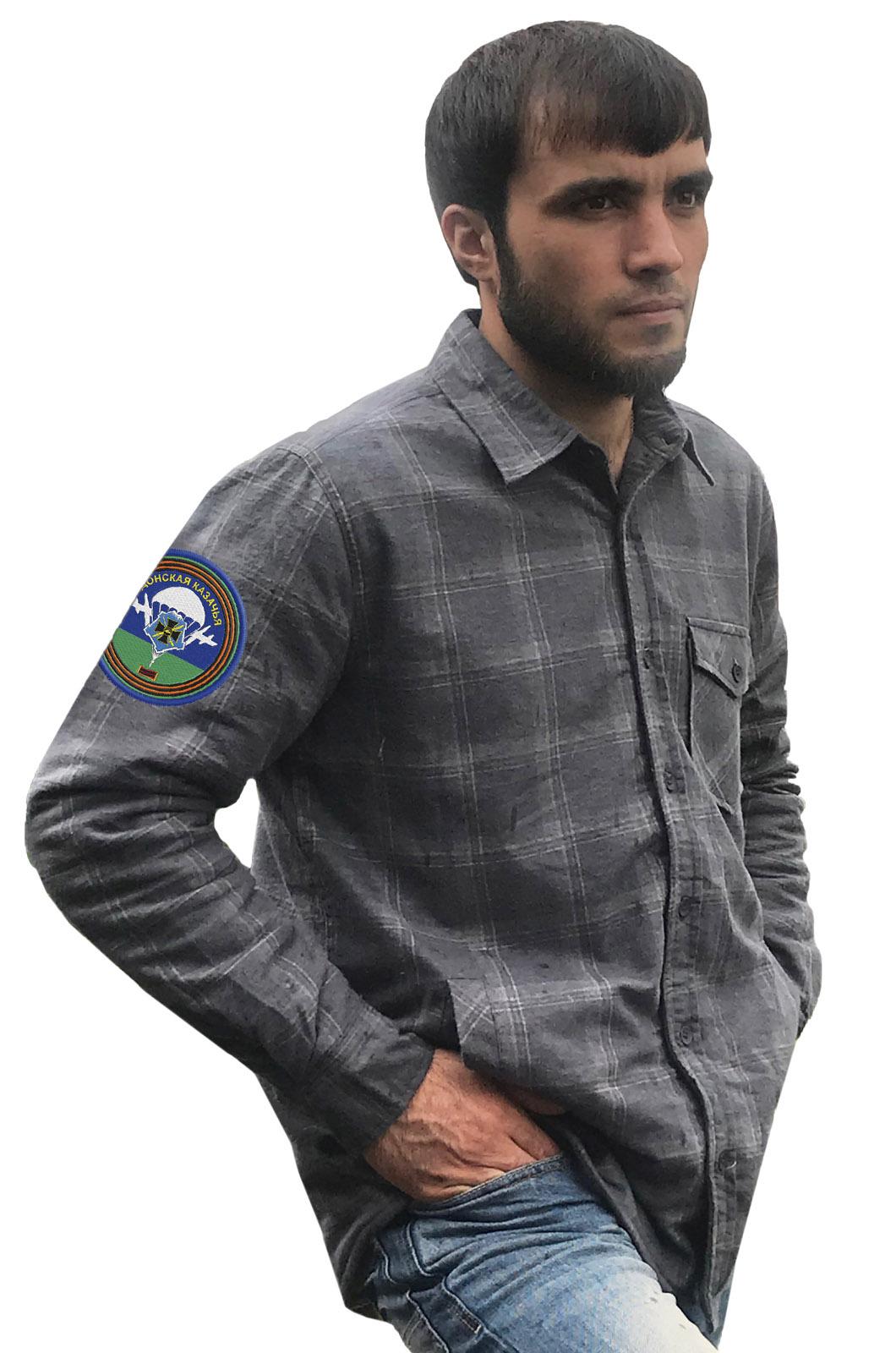Надежная рубашка с вышитым шевроном Донской Казачьей
