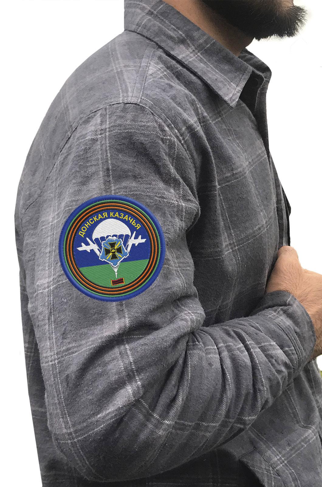 Надежная рубашка с вышитым шевроном Донской Казачьей - купить в Военпро