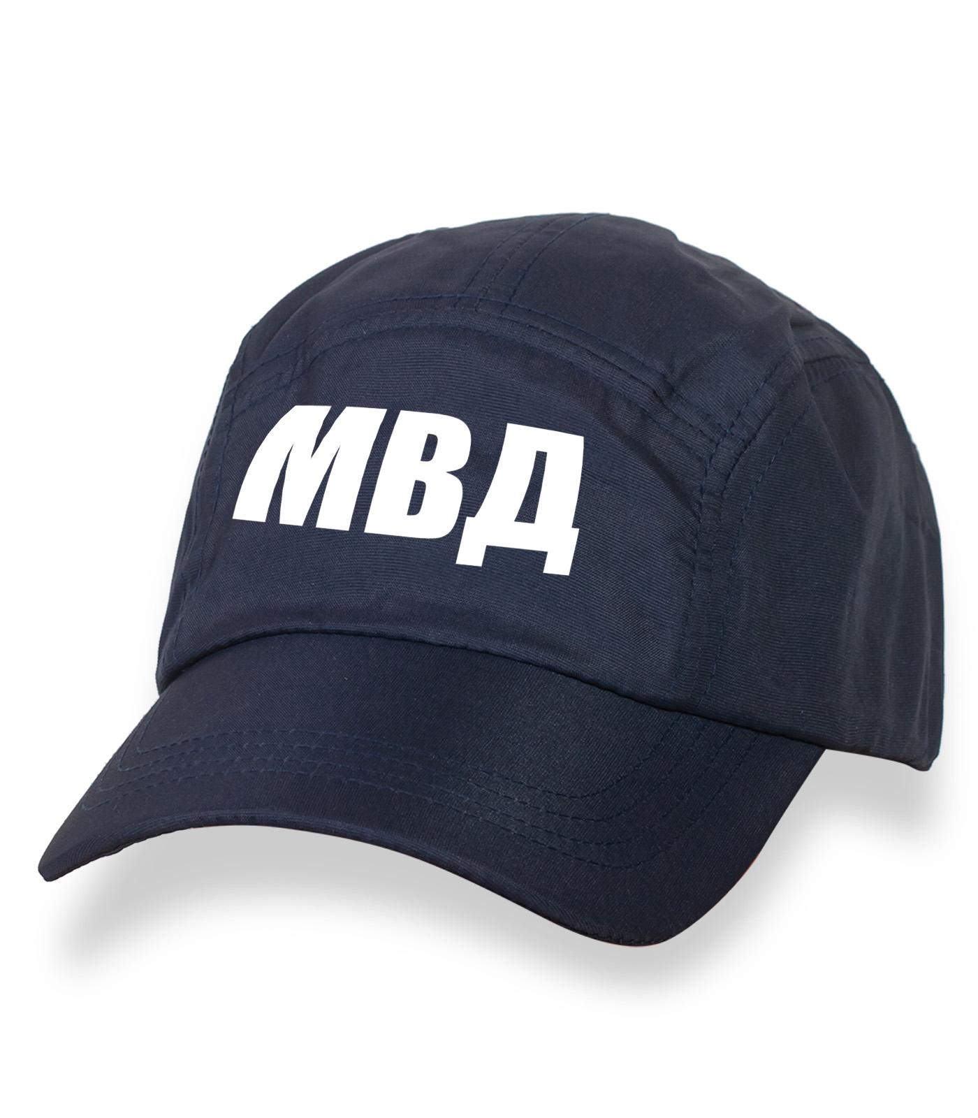 Надежная темно-синяя бейсболка с термонаклейкой МВД